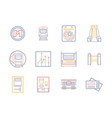 public transportation flat color line icons vector image