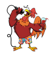 rooster with glass of wine vector image