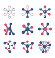 set of abstract logos blue and pink collection of vector image