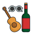 wine bottle and picnic related icons vector image