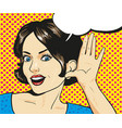 woman with surprised face listening to a whisper vector image