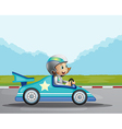 A happy girl in her blue racing car vector image