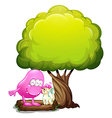 A monster and a cat under the tree vector image