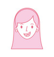 woman face character earring and hairstyle vector image