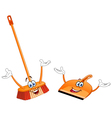 broom and dustpan cartoon vector image