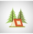 camp design with tree and object vector image