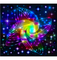 background of neon molecule with electrons vector image