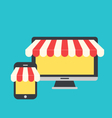 concept of online shop e-commerce flat icons style vector image