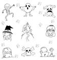 Flat Halloween hand draw in doodle vector image