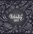 hand drawn winter sports equipment and vector image