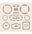 Set of ornamental frames and badges vector image