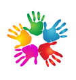 Hands teamwork logo vector image