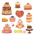 different wedding cream birthday cake pie vector image