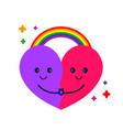 cute heart hug and rainbow vector image