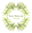Watercolor wreath with palm tree branches vector image vector image