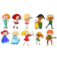Singers and musicians in actions vector image vector image