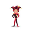 jester or festival fool cartoon character standing vector image