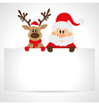 Santa Claus and reindeer with a place for text vector image