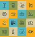 set of 16 traveling icons includes world vector image