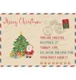 Vintage Christmas Postcard with Stamp and Postmark vector image vector image