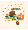 Cute fox and funny bear reading books on bench vector image