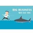 Big business shark attacking a businessman vector image vector image