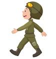 Soldier in green uniform walking vector image