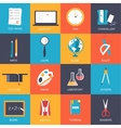 Back to school education art icons Flat vector image