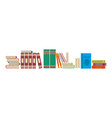 library books background flat shelf literature vector image