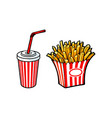 potato fry on paper box soft cold drink cup vector image
