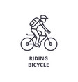 riding bicycle line icon outline sign linear vector image