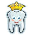 Smiling cartoon tooth with crown vector image