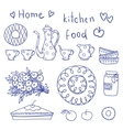 Vintage kitchen set in vector image