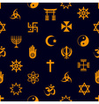 world religions symbols icons seamless pattern vector image