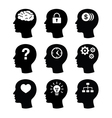 Head brain vecotr icons set vector image