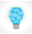 Creative light-bulb of helping hand vector image
