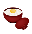 Bowl of White Rice with Raw Egg vector image vector image
