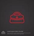 purse outline symbol red on dark background logo vector image