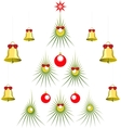 Set of abstract green Christmas tree with balls vector image