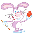 Pink Rabbit Painting Easter Egg vector image vector image