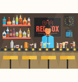 bar counter with barman stools and alcohol drink vector image