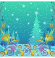Christmas background winter forest vector image