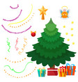 christmas tree and decorations set vector image