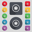cogwheel icon sign A set of 12 colored buttons and vector image