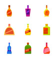 expensive bottle icons set cartoon style vector image
