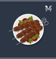 icon of kebab with tomato on a plate top view vector image