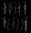 set of transparent smoke on dark background vector image