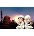 Muslim couple reading books vector image
