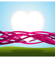 heart in pink ribbons vector image vector image