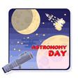 astronomy day cartoon telescope space rocket a vector image